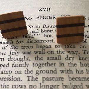 Hand made wood earrings.